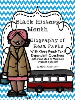 FREE!  Black History Month- Rosa Parks- Close Read- Differentiated Texts