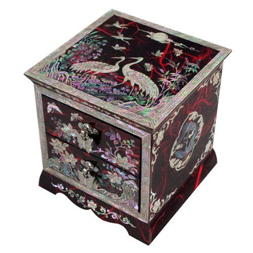 I'm in love with  Mother of Pearl Asian Lacquer Women Wooden Jewelry Trinket Keepsake Treasure Gift Girls Jewel Ring Drawer Box Chest Case Organizer with Flower and Crane Design in Red Korean Mulberry Paper