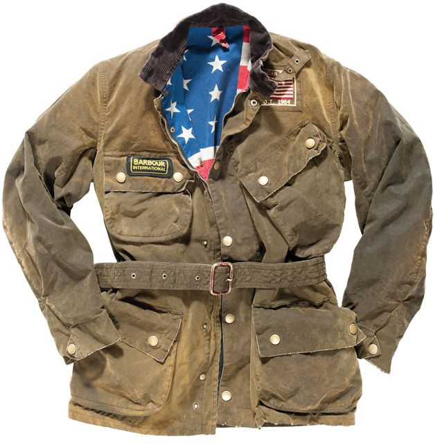 Steve McQueen Style waxed canvas motorcycle jacket from Barbour.  Pricey, but well worth the cost.