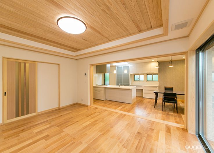 二世帯住宅の子世帯LDK。DKは一体として使うことも、仕切って使うことも可能! #和風住宅 #家づくり #木質感 #ldk #リビング #ダイニング #キッチン #折上天井 #木造住宅 #新築住宅 #設計事務所 #菅野企画設計