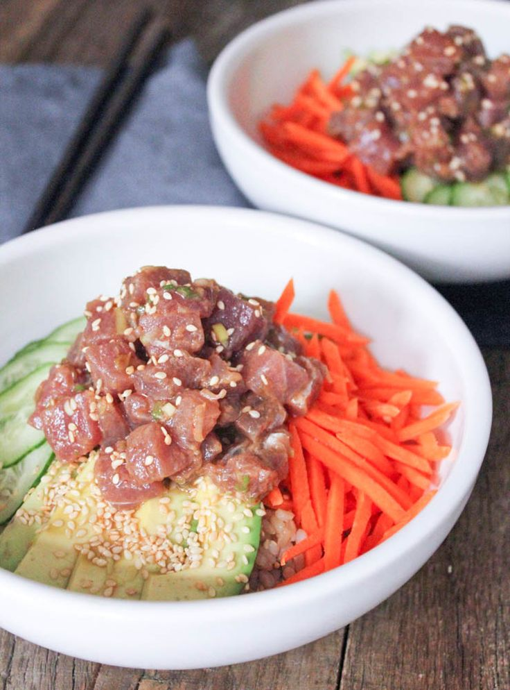 Ahi Tuna Poke Bowls with Brown Rice. Light, fresh and packed with nutritional benefits, these flavorful bowls are a delicious lunch/dinner option!