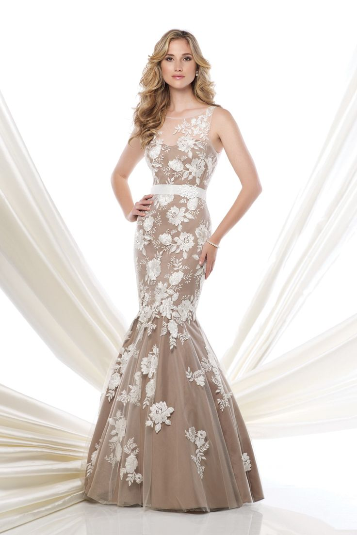 Modest Illusion Dropped Floor Length Tulle Sleeveless Mother of The Bride Dress with Appliques LOZF15059 #dress #landybridal