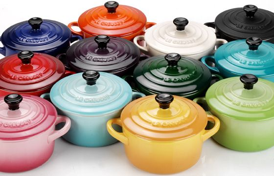 "All the Colors of ""Le Creuset Enamel Coated Cast Iron...Beautiful Aren't they? :)"