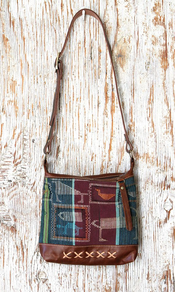 Brown Leather Crossbody Bag with Vintage African by ChameleonGoods