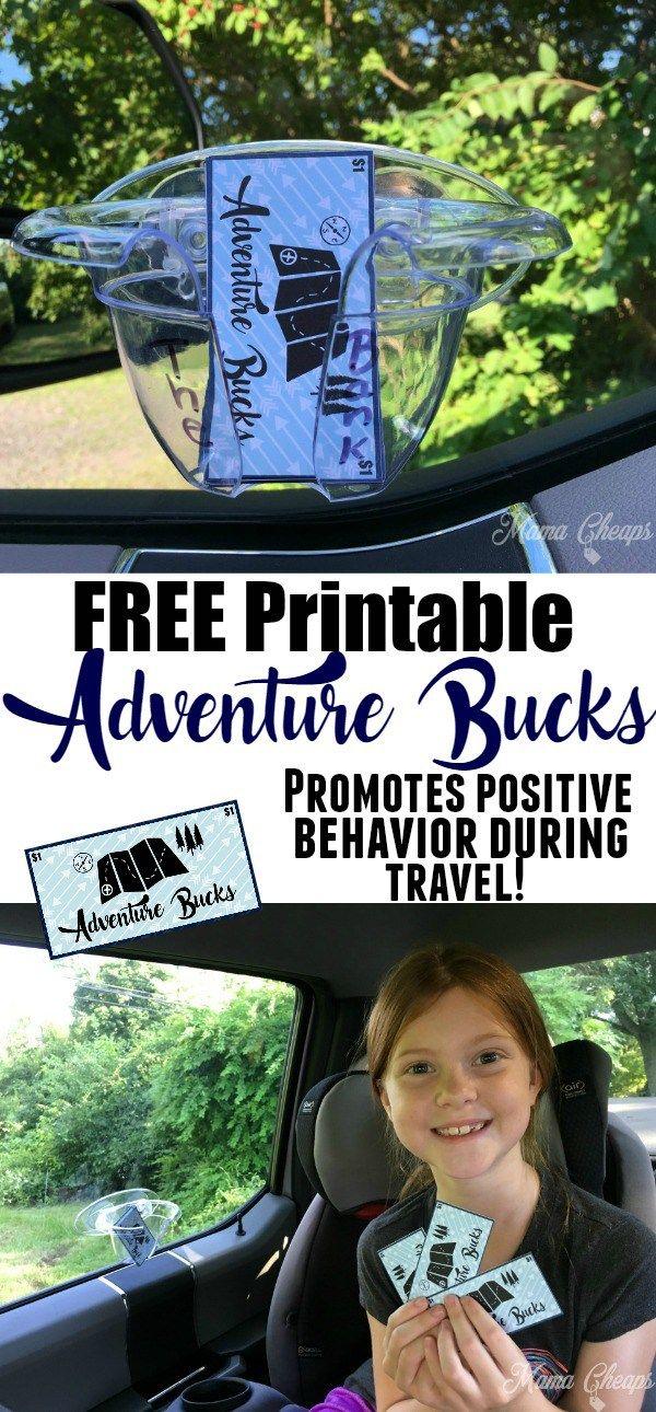 FREE Printable Adventure Bucks for Family Travel - promotes positive behavior on long road trips!