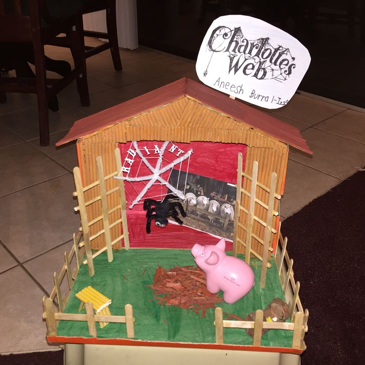 """Charlotte's web diorama with Wilbur talking to Charlotte and """"RADIANT """" on the web. First grade"""