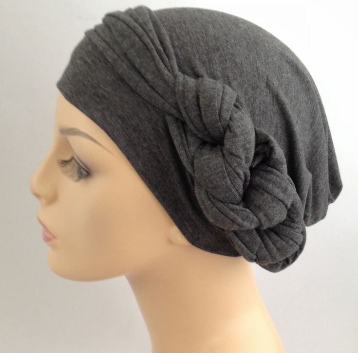 Lauren, check out how cute that chain link is! Charcoal Gray Heather Turban Head Wrap Alopecia Head Scarf Chemo Hat  Scarf Set