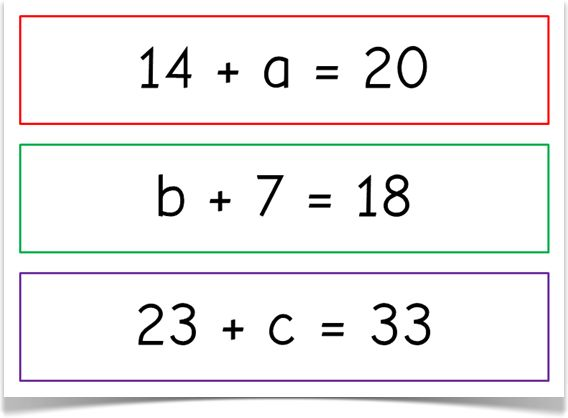 Algebra - One-Step Equations - Treetop Displays - This free set comprises of a range of one-step equations for simple and basic algebra. There are 9 equations for each operation of addition, subtraction, multiplication and division (36 equations in total). Visit our website for more information and for other printable classroom resources by clicking on the provided links. Designed by teachers for Early Years (EYFS), Key Stage 1 (KS1) and Key Stage 2 (KS2).