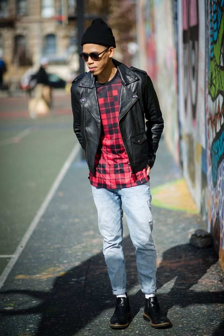Plaid shirt, black leather jacket | My Man Can Dress | Pinterest ...