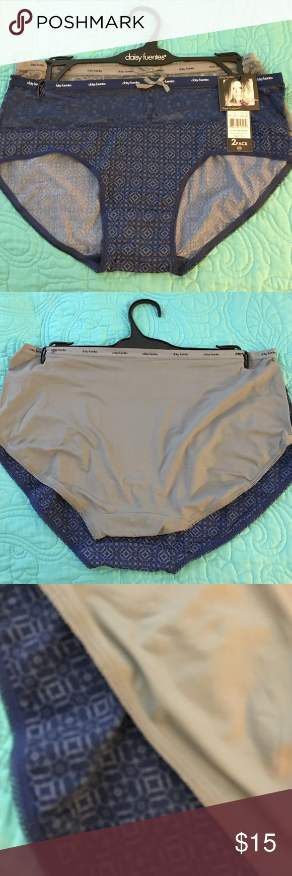 NWT Daisy Fuentes 2 pack lace trim hipsters 1X New! NWT Daisy Fuentes full figure 2 pack lace trim hipsters 1X. One navy blue print, one gray. 90/10 nylon elastane. Really pretty. Retail $22 Daisy Fuentes Intimates & Sleepwear Panties