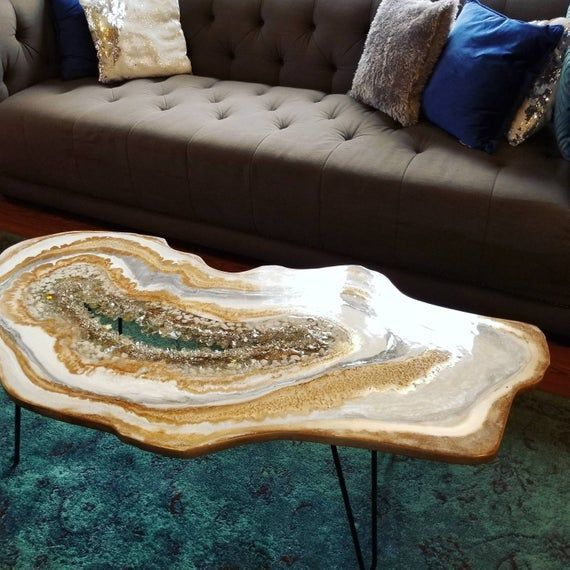Geode Table Resine Epoxy Cote Cafe Fin Commission Grand Decor