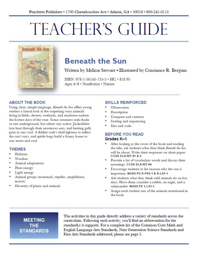 Teacher's Guide to accompany this book: http://peachtree-online.com/files/private/books/427/teachers-guides/BeneaththeSunTG.pdf