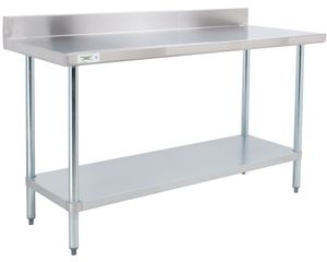 "This Regency stainless steel commercial 30"" x 48"" work table is designed to provide additional space for preparation or other tasks in your commercial kitchen, bar, or restaurant. Its 18-gauge type 304 stainless steel top can support up to 900 lb. of evenly distributed weight, providing superior corrosion resistance and durability, while the work table's adjustable undershelf is constructed from 18-gauge galvanized steel and can hold up to 700 lb.<br><br> A 4"" h..."