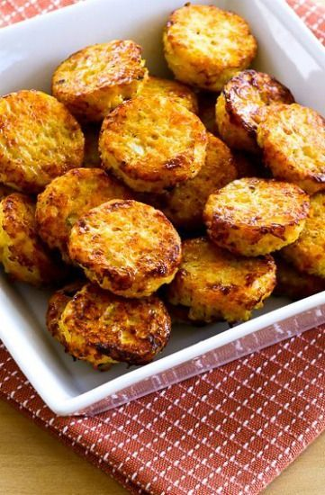 Cheesy Baked Cauliflower Tots (Low-Carb, Gluten-Free) found on KalynsKitchen.com