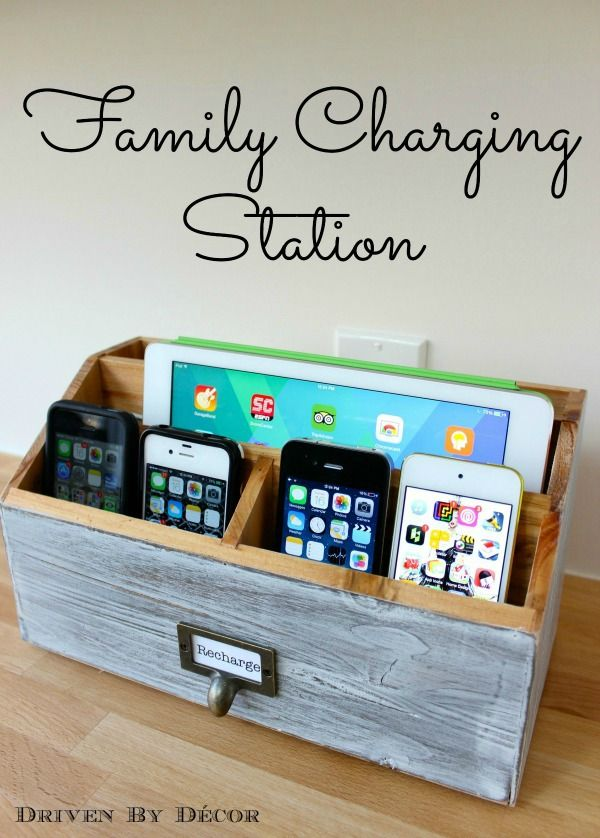 Family Charging Station - keeps chargers all in one place for easy charging without all of the cord clutter!!