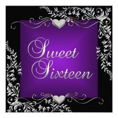 Sweet Sixteen 16 Birthday Party Black Purple Custom Announcements