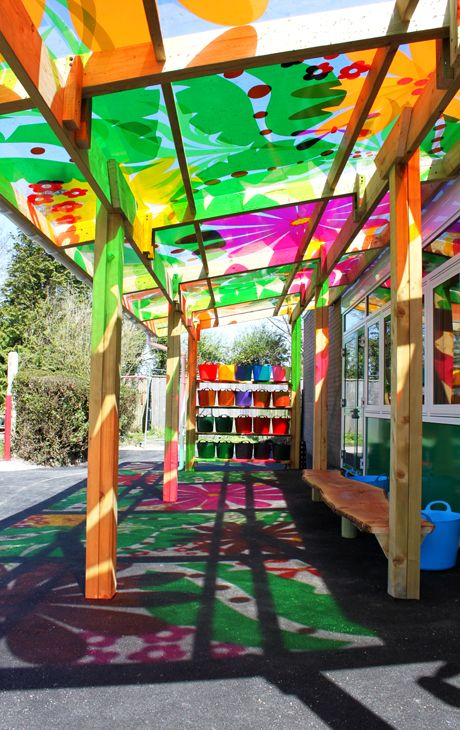 Bespoke canopy and rainbow storage at Wareham St Mary's School, Dorset