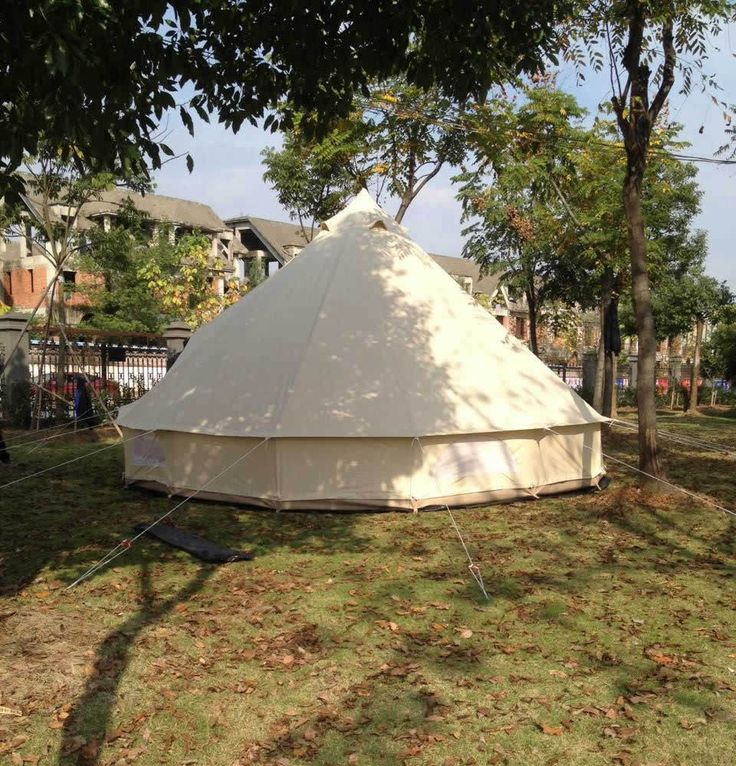 6M/20ft Diameter Canvas Bell Tent Beige Famliy Camping Bell Tent with Chimney   eBay