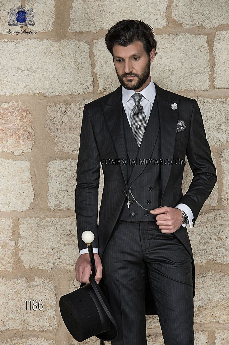 Italian bespoke wedding morning suit, in new performance black pinstripe, style 1186 Ottavio Nuccio Gala, 2015 Gentleman collection.