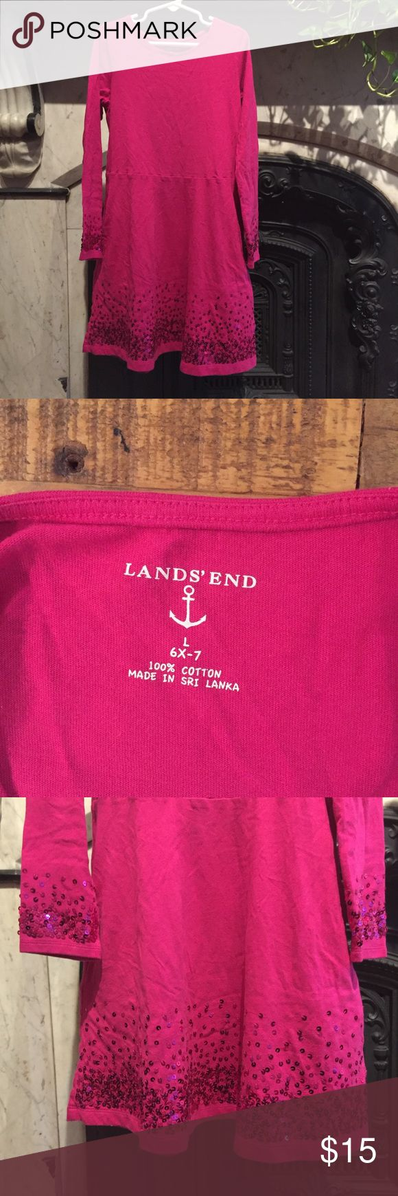 """LAND'S END Girl's Pink Sequin Cotton Dress- L 6x-7 *NEW~Never worn*  Adorable, comfortable and SPARKLY pink cotton long-sleeve dress by Land's End!  Details:  Size L (6x-7)  Magenta pink  100% Cotton  Pink sequin detail on wrists and skirt.  26"""" from shoulder to hem.  Knee-length  2 pockets  Machine washable  Perfect condition, Zero flaws! Lands' End Dresses Casual"""