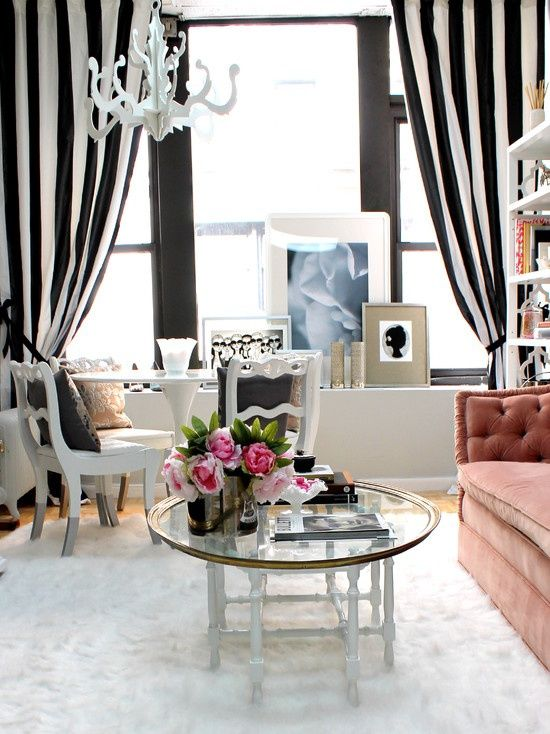 Living Room Black And White Curtains Decor With Stripes Curtain Chandelier Also Glass Coffee Table Modern Sofa