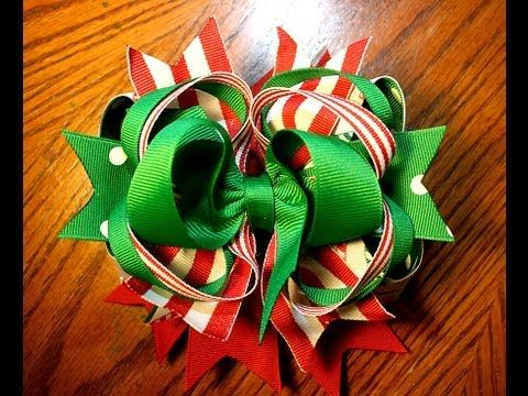 Here's a fun stacked bow idea just in time for Christmas.  Want more design ideas? Leave me a comment and let me know!    You will need the following tutorials to make this bow :    Classic Boutique (Twisted Boutique): http://www.youtube.com/watch?v=GyMRR5jDYSc    Pinwheel: http://www.youtube.com/watch?v=iO6A9kfv9kM    Surround a bow: http://www...