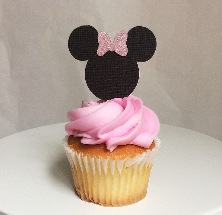 Minnie Mouse-cupcake toppers -custom birthday cupcake topper-glitter-light pink-black and pink Minnie Mouse- birthday Minnie Mouse theme by Torisshoppe on Etsy