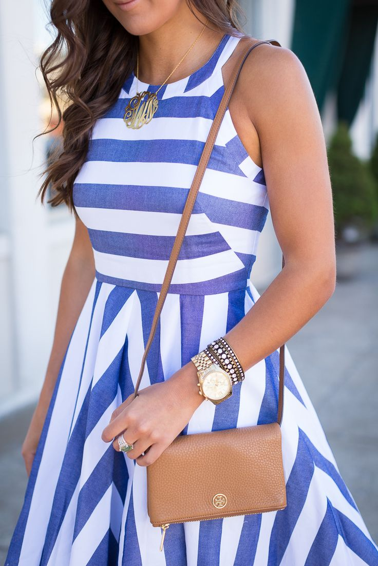 stripe midi dress, gold monogram necklace, summer stripe dress // @asoutherndrawl