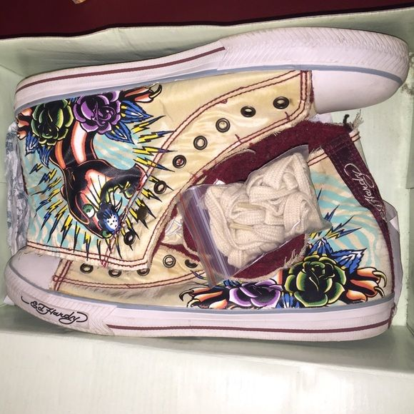 "Ed Hardy shoes Authentic Ed Hardy ""converse style"" shoes, designed with a cheetah, tiger, and roses on each side, very warm and comfortable! Ed Hardy Shoes Sneakers"