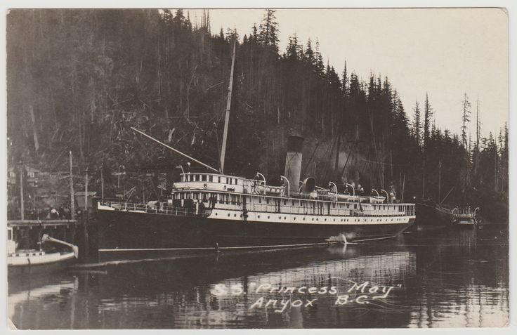 "ANYOX, BC - Photo postcard c.1907-1914, showing the C.P.R. ""Princess May"" docked at what is now the ghost town of Anyox, which was abandoned in 1935."