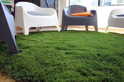 Installed Fake Grass Carpet in Living Room
