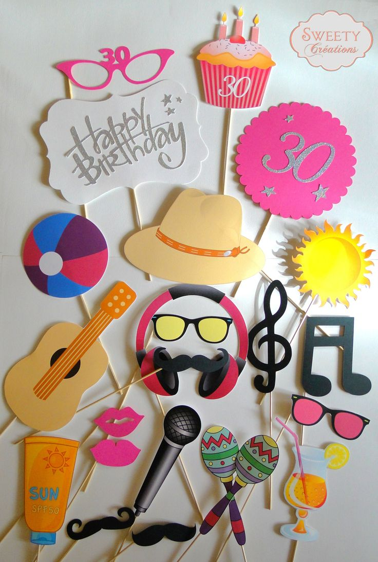Kit photobooth anniversaire, plage et musique  photobooth props birthday, beach…