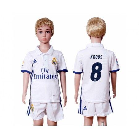 Real Madrid Trøje Børn 16-17 #Kroos 8 Hjemmebanetrøje Kort ærmer,199,62KR,shirtshopservice@gmail.com