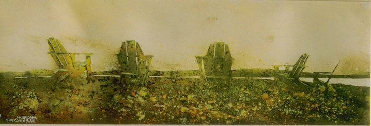 """the horizon 16 (fundy side) 10"""" x 30""""    micheal   zarowsky    watercolour on arches paper / private collection"""