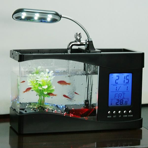 #NewYear #TomTop - #generic Mini USB LCD Desktop Lamp Light Fish Tank Aquarium LED Clock - AdoreWe.com