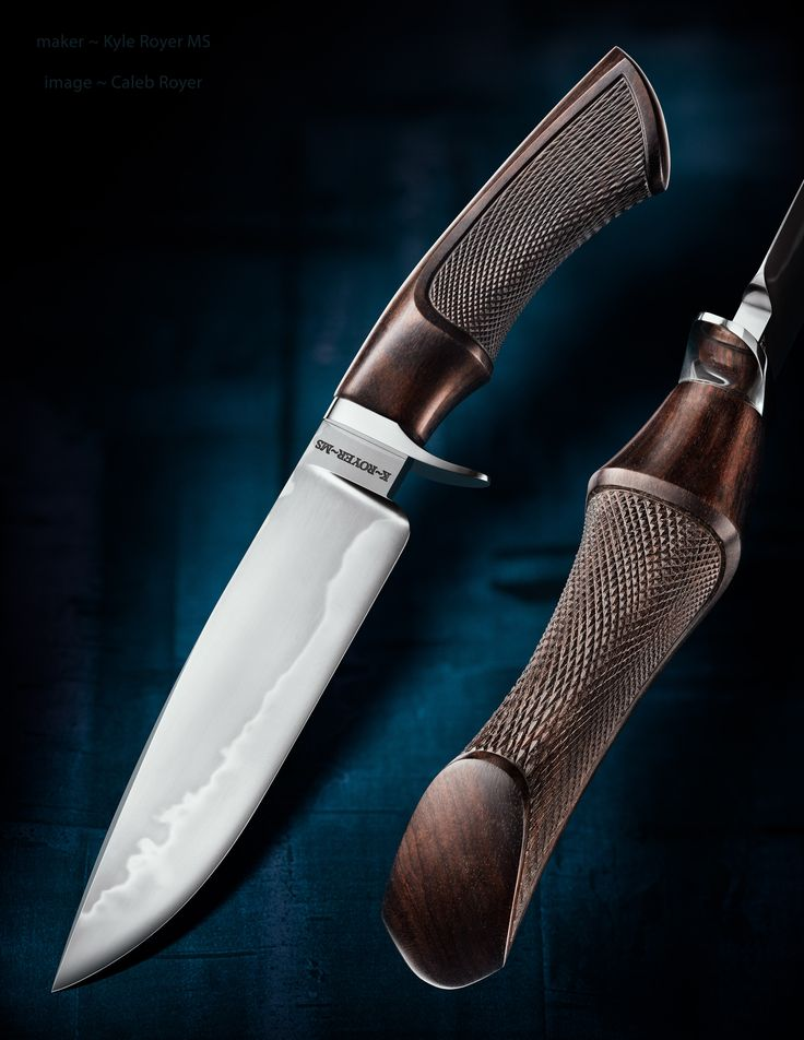 """maker: Kyle Royer MS website: kyleroyerknives.com """"Gentleman's Hunter. It has a 5.75 inch long, hand forged W-2 blade which features a hamon and a high mesh, hand rubbed polish. The handle is of African Blackwood featuring fine checkering. The guard on the piece is Stainless Steel and the overall length is 10.5 inches long."""