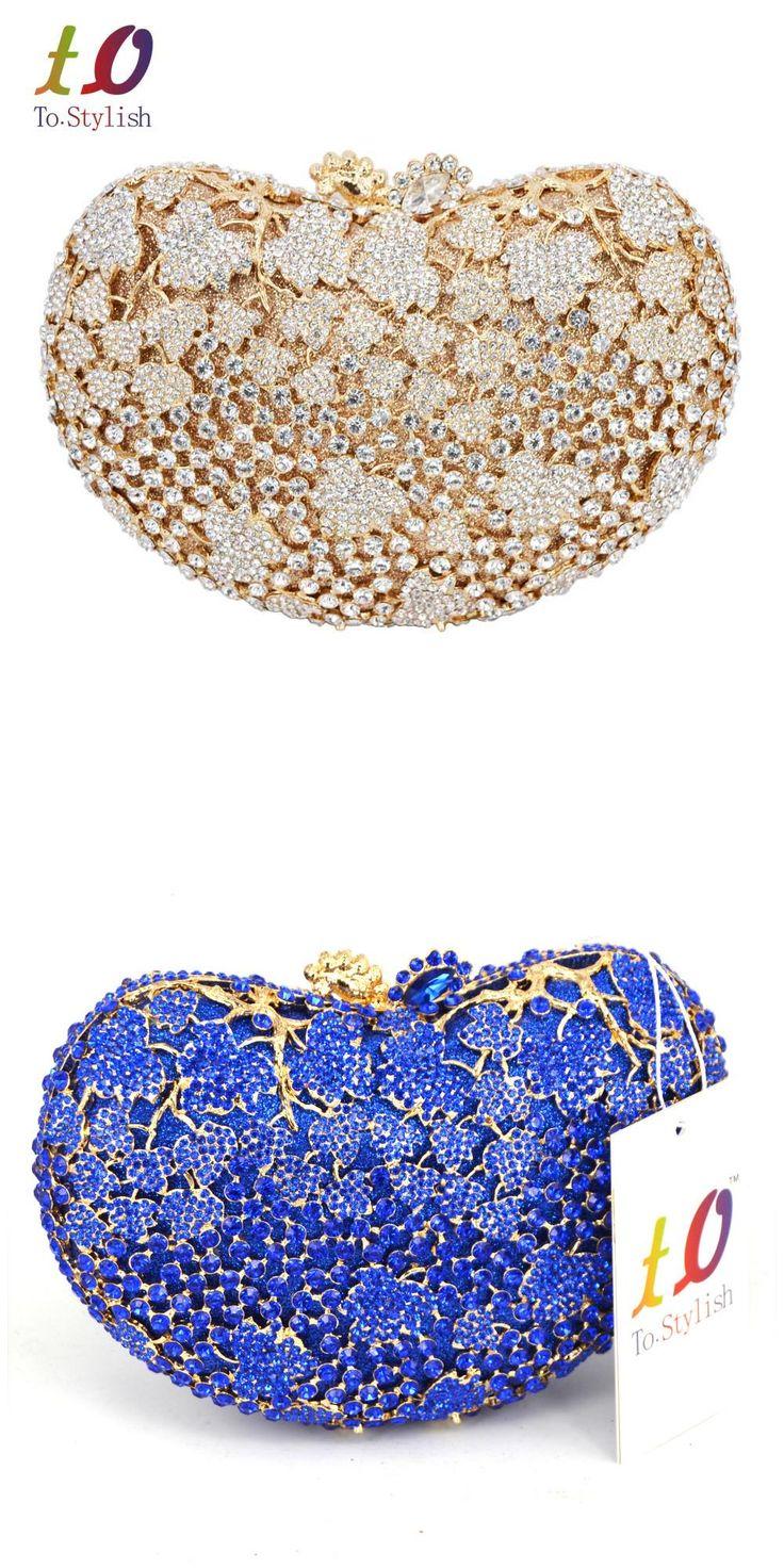 [Visit to Buy] Golden blue clutch bag women party bags Female pochette Purse ladies royal blue evening bag womanhood purse handbag SC310 #Advertisement