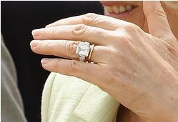 Camilla, Duchess of Cornwall's engagement ring, a huge diamond affair that once belonged to the Queen Elizabeth, the Queen Mother.