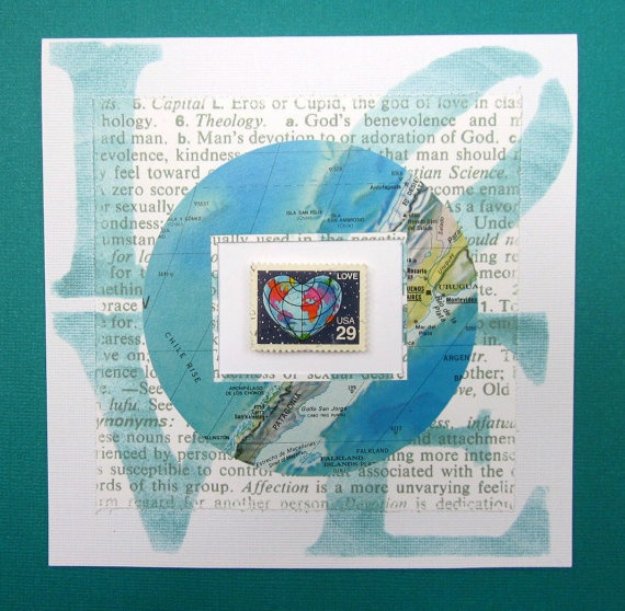 "5.5"" square Postage Stamp Valentine Card - World LOVE - Hand Crafted One Of A Kind Art Card $8.59"