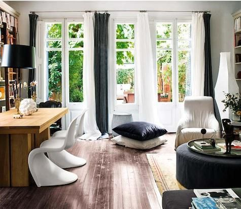 Fabrics & Linens: White and Gray Curtains in Barcelona