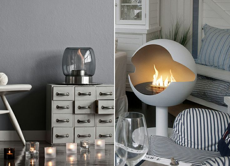 Ilkka Suppanen's tabletop fireplace for Iittala and the portable Globe fireplace from Vauni