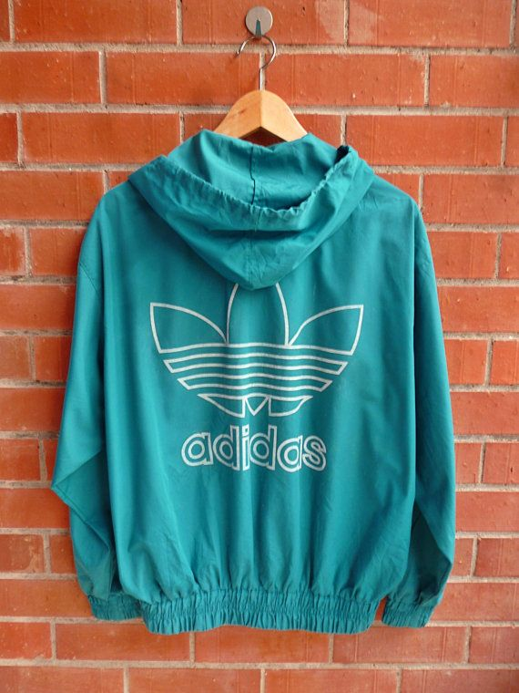 Vintage 80s ADIDAS Trefoil Hip Hop Run Dmc Style Swag Green hoodies Parka Track…