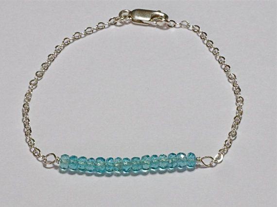 Sparkling AAA Apatite Sterling Silver Chain Bar Bracelet. Modern Minimalist Jewelry. Gemstone Tiffany Inspired Bracelet.  Fine Jewelry.