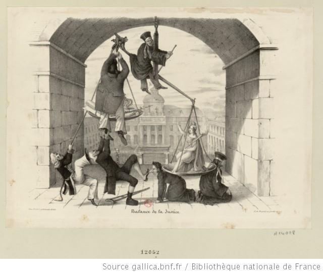 """""""Balance de la Justice."""" Malgré les efforts désespérés de Barthe, Louis-Philippe, Soult et Talleyrand pour faire pencher cette balance de le..."""