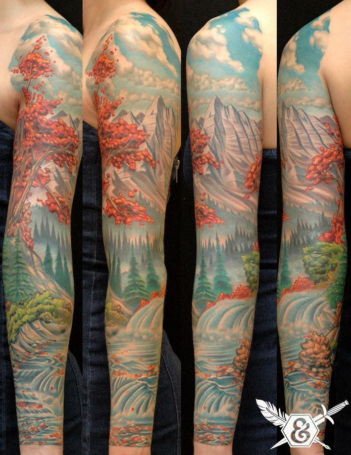 landscape sleeve | lovely tattoos | Pinterest | Parlour ...