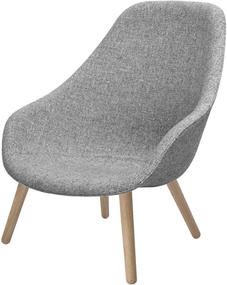 Fauteuil About a Lounge High /Dossier haut - Tissu Hallingdal Piètement naturel / Assise tissu gris clair - Hay