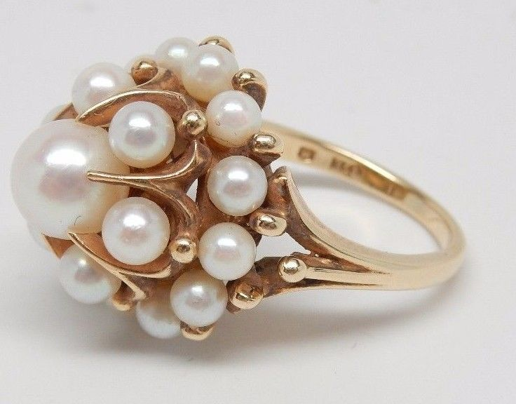 Vintage 14k Yellow Gold Pearl Ring Size 6.25 Sku 6.8.5.2