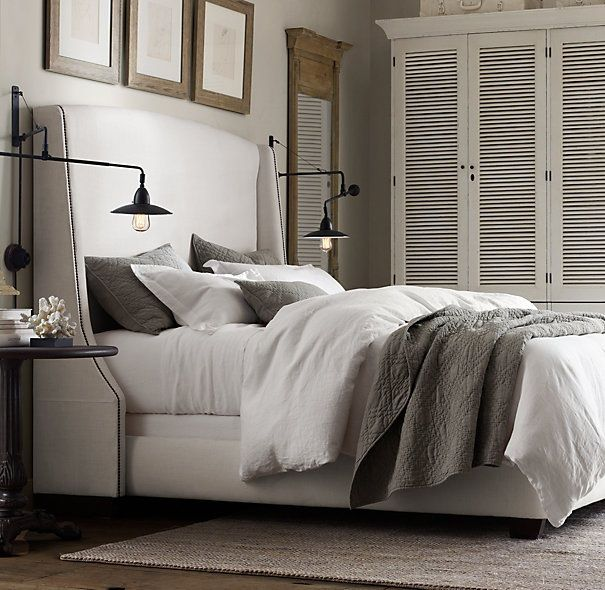 Master Bedroom Bedding, industrial bedside lamps, custom headboard