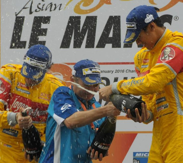 Illustration: Podium Celebration. Spray Champagne. Sepang Asian Le Mans 2016. Sean Gelael (INA) & Antonio Giovinazzi (ITA). Taken by Gregory Heirman #Racing #Motorracing #ALMS #FormulaCar #BanggaIndonesia Find out more by clicking on the following link https://www.facebook.com/TeamJagonyaAyam/timeline https://twitter.com/TeamJagonyaAyam
