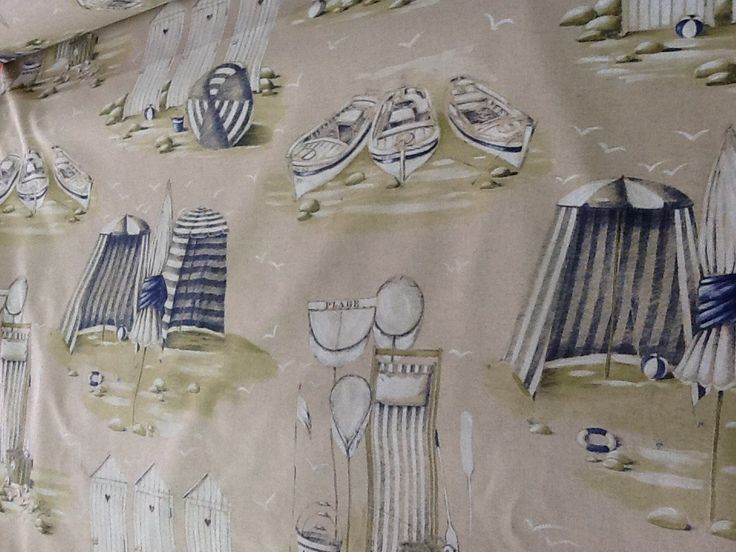 Tissus coton cabines de plage et barques en 2.80m de large